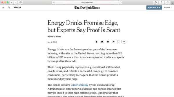 レッドブルが訴訟されたというニューヨークタイムズの記事の画像