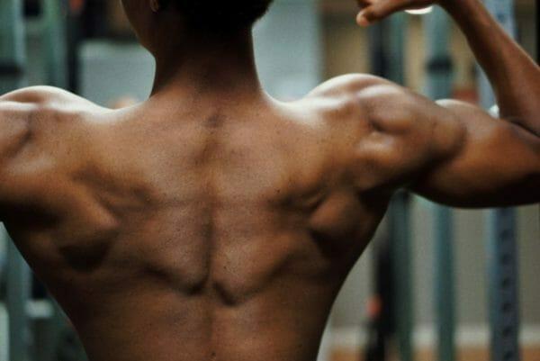 肩こりの改善のために使い捨てカイロを貼る肩甲骨のイメージ